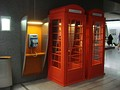 Two imitation British red telephone boxes at Brussels-South railway station
