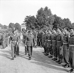 Brigadier Mike Calvert, Commandant SAS Brigade, at the ceremony marking the passing of 3 and 4 SAS (2 and 3 Regiment de Chasseurs Parachutistes) from the British to the French Army at Tarbes in southern France. 1945