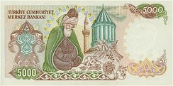 Rumi and his mausoleum on the reverse of the 5000 Turkish lira banknotes of 1981–1994
