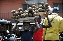 Young street vendors in Benin