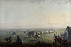 Breaking up Camp at Sunrise, by Alfred Jacob Miller