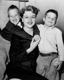 Lansbury with her children in 1957