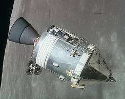 The Apollo 15 command and service module in lunar orbit, photographed from Falcon