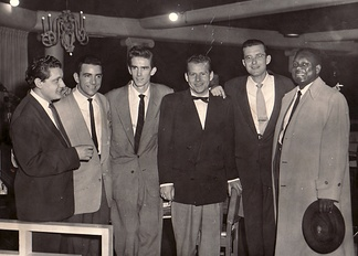 "From left: Chris Gage, Louie Bellson, Stan ""Cuddles"" Johnson, Tony Gage, Fraser MacPherson, Harry Carney (Photo from the Fraser MacPherson estate)"
