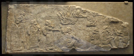 Babylonian prisoners under the surveillance of an Assyrian guard, reign of Ashurbanipal 668-630 BCE, Nineveh, British Museum ME 124788