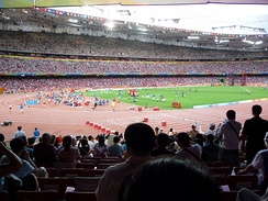 The athletics competition underway at the main stadium of the 2008 Summer Olympics