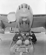 Mosquito four 20 mm cannon and four .303 in machine guns and four 500 lb bombs.
