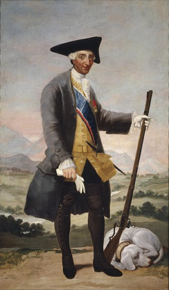 "Portrait of Charles III as a huntsman by Francisco Goya, 1786-1788. He was beloved of his subjects who ""admired his simple life and his religious spirit.[12]"