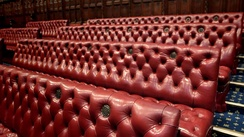 Benches in the chamber are coloured red. In contrast, the House of Commons is decorated in green.