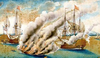 The Franco-Spanish fleet commanded by Don Juan José Navarro drove off the British fleet under Thomas Mathews near Toulon in 1744.