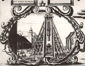Construction of Sigismund's Column in Warsaw, detail of the 1646 engraving.