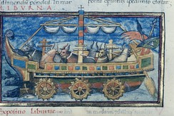Ox-powered Roman paddle wheel boat from a 15th-century copy of De Rebus Bellicis