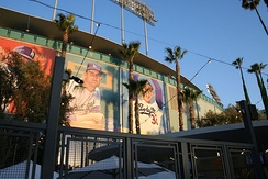 Former Dodger greats who played in both Brooklyn and Los Angeles adorn the exterior of Dodger Stadium.