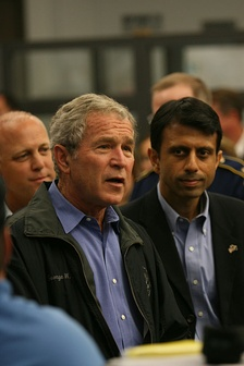 Then President George W. Bush and Jindal greeting EOC employees, during disaster recovery efforts for Hurricane Gustav, September 2008