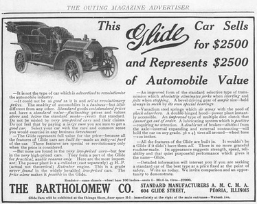 1909 advertisement for the Glide automobile manufactured in Peoria, Illinois, by the Bartholomew Company.