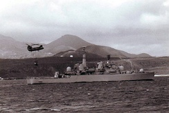 Bristol at Ascension Island with a Chinook helicopter flying overhead in 1982