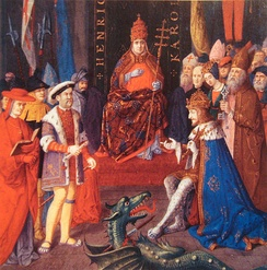 Henry with Charles V (right) and Pope Leo X (centre), c. 1520