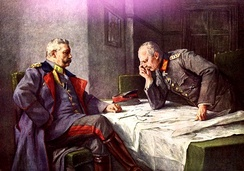 Depiction of Hindenburg and Erich Ludendorff at the battle of Tannenberg (painting by Hugo Vogel).