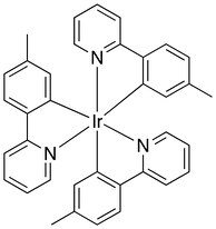 Skeletal formula of a chemical compound with iridium atom in its center, bonded to 6 benzol rings. The rings are pairwise connected to each other.