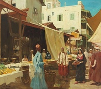 Scenery at a North African Bazaar, by John Gleich, 20th century
