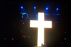 Justice at Fabric with the large illuminated cross they typically perform alongside