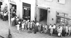 Queue waiting to enter a store, a typical view in Poland in the 1980s