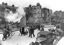 A bombed-out London street during the Blitz of the Second World War