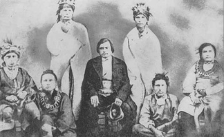 The Meskwaki (Fox) were pushed from their historic homelands to Iowa and Indian Territory (part of today's Oklahoma).