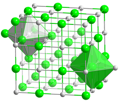 Structure of sodium chloride, showing octahedral coordination around Na+ and Cl− centres. This framework disintegrates when dissolved in water and reassembles when the water evaporates.