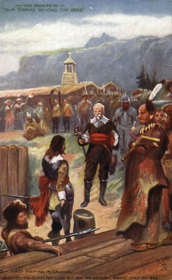 Champlain (centre, holding sword) surrenders Québec to Admiral Kirke on 20 July 1629.