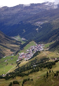 The village of Obergurgl in the State of Tyrol, where the exterior footage of the film was shot