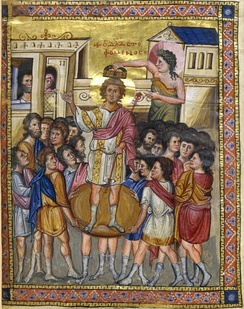 Coronation of David, as depicted in the Paris Psalter.