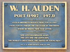 Commemorative plaque at one of Auden's homes in Brooklyn Heights, New York