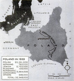 Map of Poland following the German and Soviet invasions (1939)