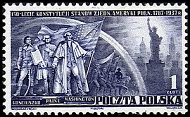 Polish postage stamp (1938):Kościuszko with saber (left), Thomas Paine withbook (center), George Washington with U.S. flag