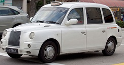 A London taxi (TX4 model) in Singapore