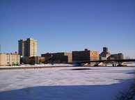 The Saginaw River freezes in the cold Michigan winter of February 2008.