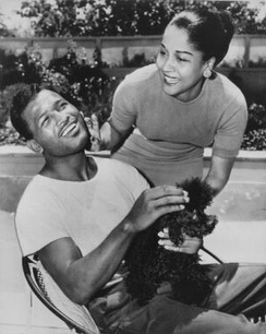Sugar Ray Robinson with Edna Mae Holly in 1956