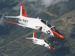 A pair of T-45A Goshawks during a training flight over Texas