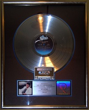 The Thriller platinum certified record on display at the Hard Rock Cafe, Hollywood. As of 2017, it is certified 33× platinum.[323]