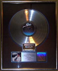 Thriller platinum record on display at the Hard Rock Cafe, Hollywood in Universal City, California