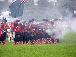 Historical re-enactment of the Battle of Warburg fought on 31 July 1760