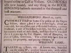 "Slave notice from Williamsburg, Virginia for a runaway ""Ibo Negro"""