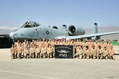 The Eielson 355th FS deployed to Bagram AB, Afghanistan in 2006 as part of Operation Enduring Freedom. The unit flew more than 1,500 combat sorties and 5,000 hours in the skies over Afghanistan. This marked the unit's last A-10 combat deployment.