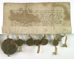 Władysław of Bytom agrees not to support anyone against the Polish king, Casimir the Great, and in particular the Czech king. Parchment from February 1346