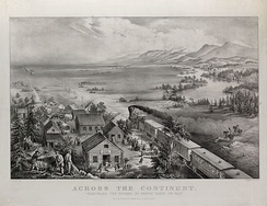 Across The Continent, an 1868 lithograph illustrating the westward expansion of white settlers