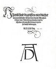 Title page of Vier Bücher von menschlicher Proportion showing the monogram signature of artist