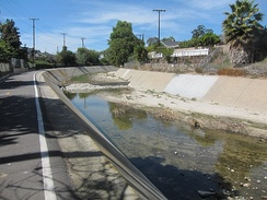 A channelized section of Aliso Creek in Lake Forest