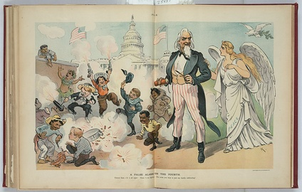 American children of many ethnic backgrounds celebrate noisily in 1902 Puck cartoon
