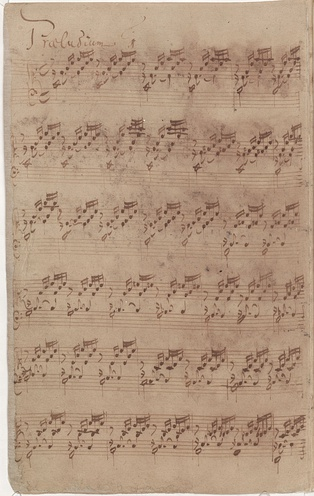 Bach's autograph (1722) of the first prelude of Book I